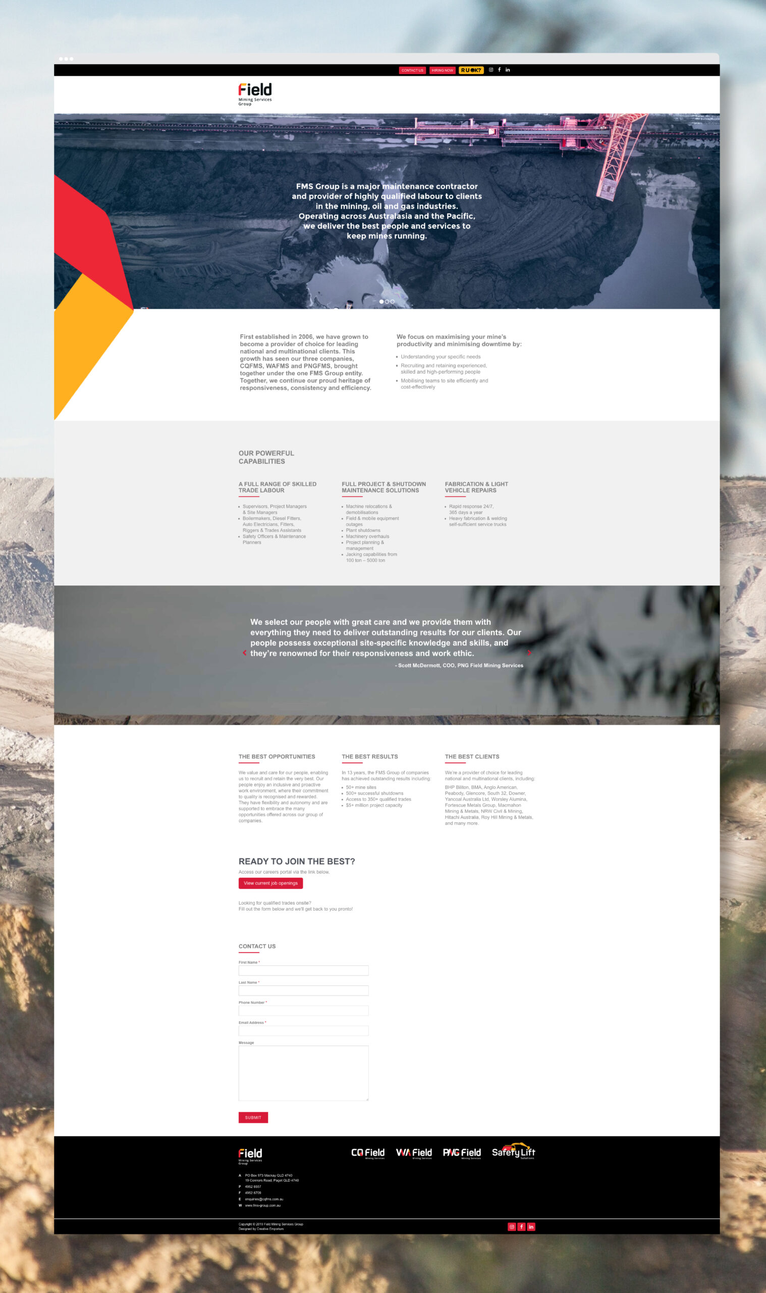 Field Mining Services Group Website Landing Page Mockup