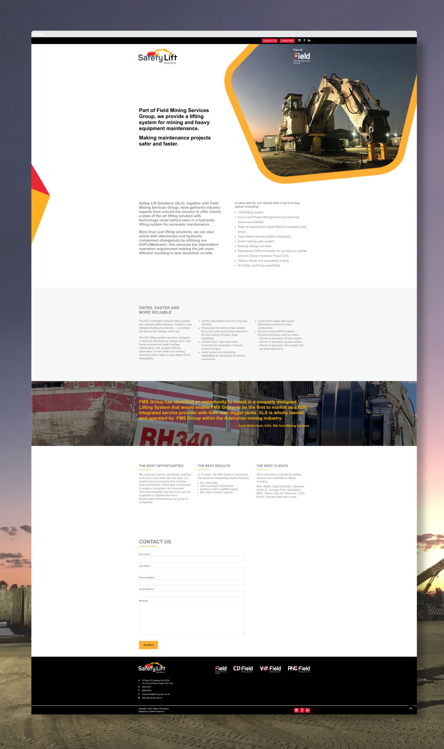 Safety Lift Solutions Website Landing Page Mockup